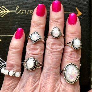 OPAL & BURNISHED SILVER RINGS